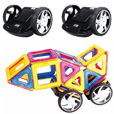 2PCS Magnetic Building Blocks Magformers Alloy Wheels kids Educational Toys