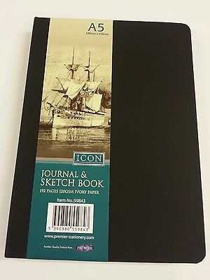 A5 Artists Journal & Sketch Book 192Pages 120gsm Ivory Paper 148mmx210mm