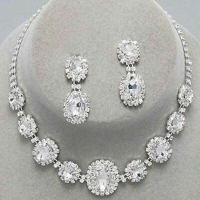 Clear silver tone rhinestone crystal necklace set brides proms party sparkly 249