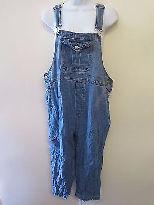 Maternity Denim Oversize Cropped Dungarees Overalls Jumpsuits Size M UK 12/14