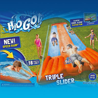 Slip and Slide Wave Rider Triple Inflatable Kids Water Toy Long fast Playground