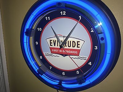 Evinrude Outboard Fishing Boat Motor Garage Man Cave Neon Wall Clock Sign4
