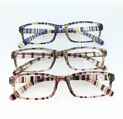 P417 Classic Rectangle Reading Glasses - Multi Colour Purple Red Checked Tartans