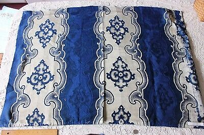 Antique French Indigo Wool/Silk Jacquard Napoleon III Home Fabric c1860-1870