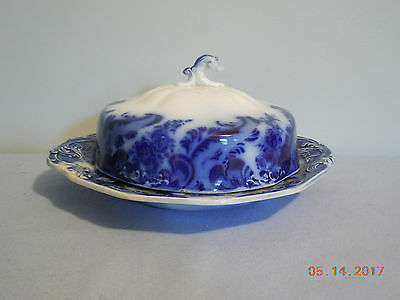 Argyle Flow Blue Three Piece Butter Dish By Grindley