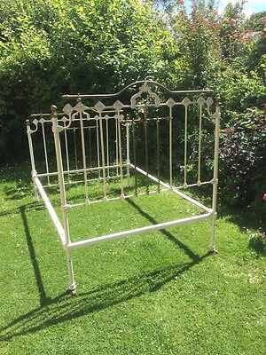 Victorian Antique Iron And Brass Double Bed & Metal Sprung Base Divine Dreams