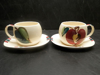 Purinton Slip Ware APPLE Cup & Saucer 2 Sets