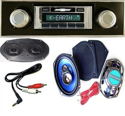 1967-1968 Chevy Camaro Radio + Stereo Dash Replacement Speaker + 6x9s BLK 230 AC