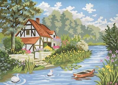 Grafitec Printed Tapestry/Needlepoint Canvas – Cottage by the Stream