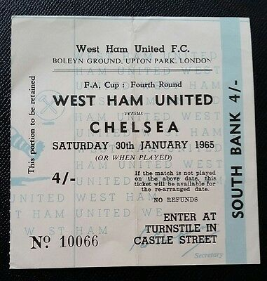 1965 FA Cup 4th round WEST HAM UTD v CHELSEA original match  ticket