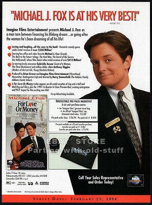 FOR LOVE OR MONEY__Orig 1994 Trade AD movie promo__MICHAEL J FOX_Gabrielle Anwar
