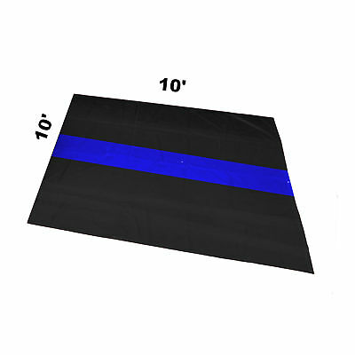 Garage Motorcycle Mat 10 X 10 The Thin Blue Line Police Motorman Mc Traffic Unit