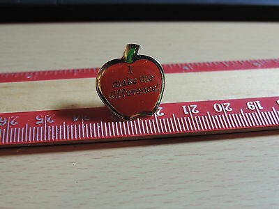 Red Apple ' I make the Difference'  Lapel Hat Pin 16E