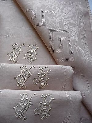 """Antique French Linen Napkins  """"iced Coffee"""" Large Dinner Napkins Serviettes"""