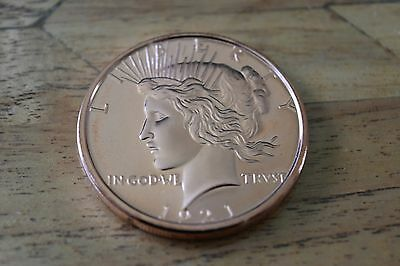 1 oz PEACE DOLLAR Copper Coin .999 Bullion Round