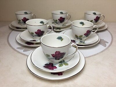 Job Lot Vintage Alfred Meakin Realm Rose Red Roses 6 x Trios Wedding MisMatch