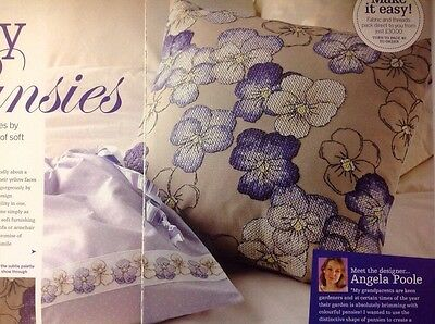 (C) Blue Pansy Flower Cushion Cover Cross Stitch Chart