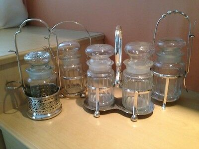 Collection Of Cut Glass Pickling Jars In Silver Plated Cases