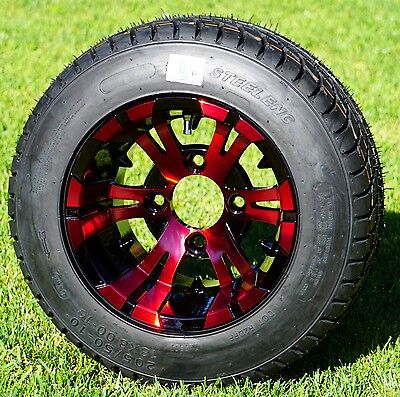 "GOLF CART 10"" REDLD/BLACK VAMPIRE WHEELS/RIMS and 205/50-10 LOW PROFILE TIRES"