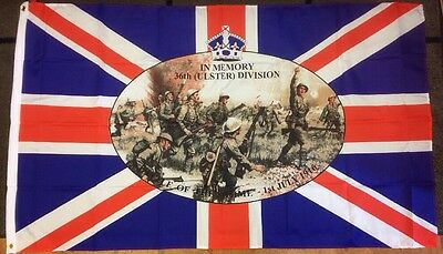 36Th (Ulster) Division / Battle Of Somme / Union Jack / 5X3 Foot Flag