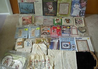 Large Lot Vintage Cross Stitch Embroidery Kits Projects Crafts Frames