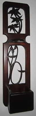 Vintage Tall Solid-Wood Carved Wall Decor Planter Shelf