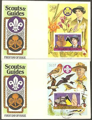 ST LUCIA 1986 BOY SCOUTS Girl Guides 2 FANCY IMPERF FDC