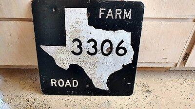 "Vintage Texas Farm Road 3306 Street Sign Smaltz ? 24"" x 24"" 16 Lbs"