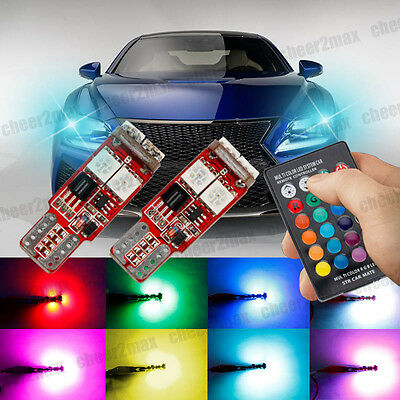 2x RGB T10 W5W LED Car Side Wedge Lights Bulbs Remote Control Canbus Multi Color