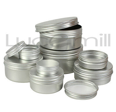 ALUMINIUM TINS JARS POTS CONTAINERS & EPE LINED Screw Lids - Sizes 10mL to 250mL