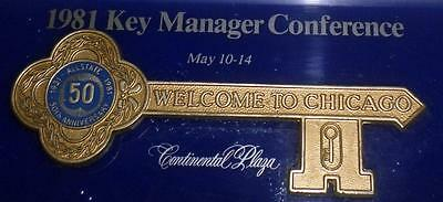 Vintage Allstate 1981 Key Manager Conference Plaque 50th Anniversary Chicago Key