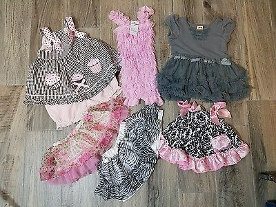 Lot Of 7 Baby Girl 12 Months Ruffles Fluffy Rare Too Boutique