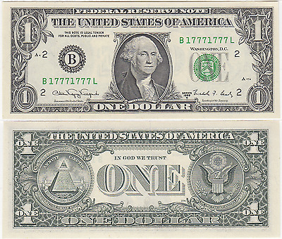 1988 A $1 New York District 2 Digit Repeater (1's & 7's) FR 1915-B
