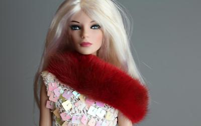 ~Bright Red Mink Fur Infinity Shoulder Wrap 4 Gene Tyler Sydney dolls~by dimitha