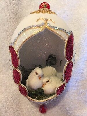 "Real Hand Decorated Carved Goose Egg Christmas Tree Ornament, ""christmas Doves"""