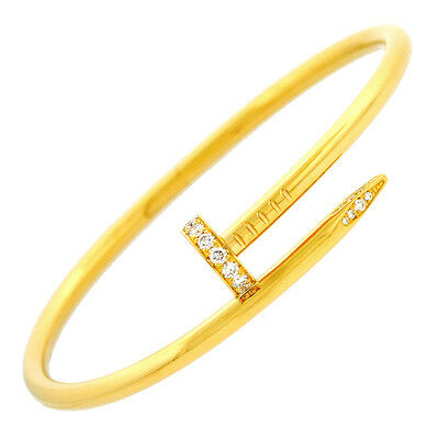 CARTIER 18K Yellow Gold Diamond Juste un Clou Nail Bangle Bracelet Retail $11800