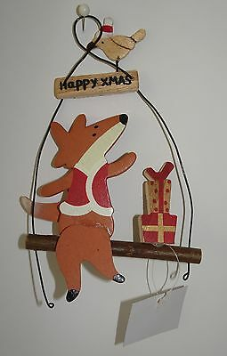 Fab Happy Xmas Fox On A Swing Hanging Decoration with Bird.