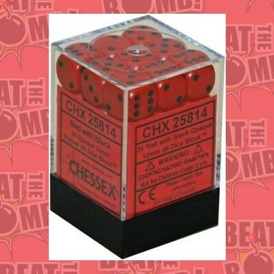 D6 Dice Opaque 12mm Red/black (36 Dice In Display)  - BRAND NEW