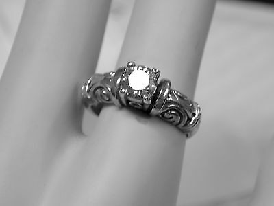 .70ct white moissanite diamond antique 925 sterling silver ring size 8 USA