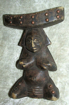 Vintage Antique Wood Head Rest Africa Congo Female Nude Fertility Pillar Estate