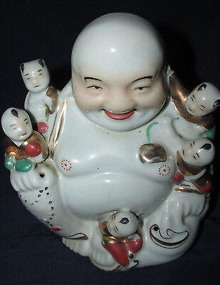 Antique China Happy Buddha & 5 Children Statue Ceramic Asian Stamps Estate 18CmT