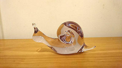 Wedgwood Glass Large Clear Snail  Paperweight Signed On Base