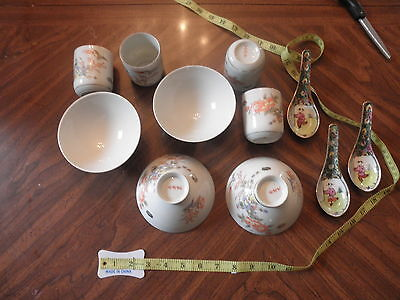 Vintage JAPANESE RICE BOWLS Soup - Cups Set of 4 - 3 Spoons Floral Design