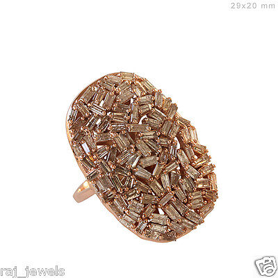 Solid 18k Rose Gold Pave 3.62ct Baguette Diamond Ring Vintage Style Fine Jewelry