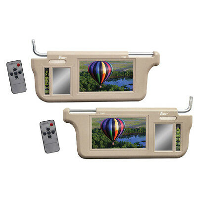 """TVIEW T73SV-TN Tivew 7"""" Sunvisor Monitor driver and passenger side tan"""