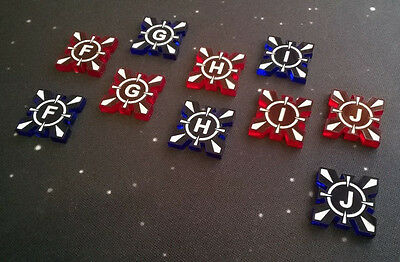 X-Wing Miniatures compatible, acrylic target lock tokens x 10 (F-J)