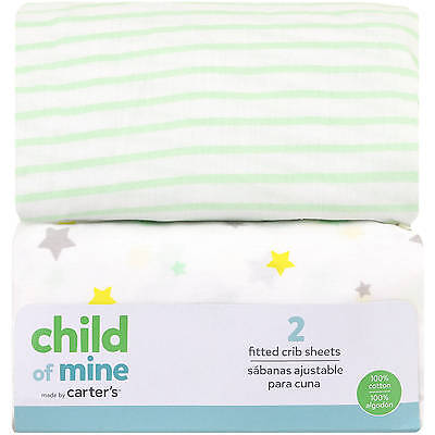Child of Mine Carters Fitted Crib Sheet, Set of 2 Boys/Girls/Unisex