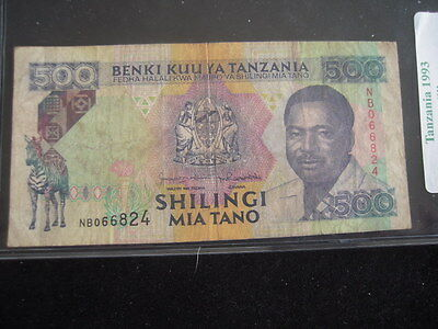 1993 Tanzania 500 Shilling Paper Currency