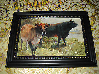 COWS LINGER IN FIELD 4 X 6 black framed picture Victorian style animal print