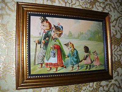 CAT FAMILY ON A WALK 4 X 6 gold framed picture is a Victorian style art print